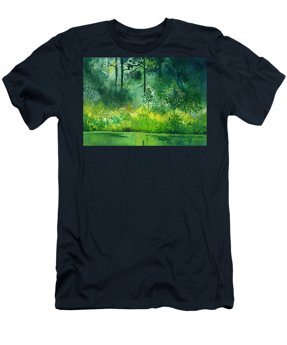 Water Men's T-Shirt (Athletic Fit) featuring the painting Light N Greens by Anil Nene