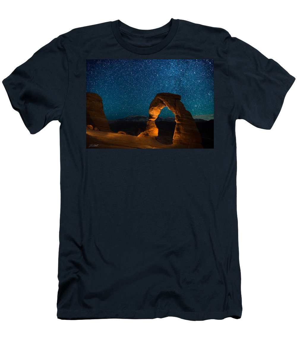 Delecate Arch Men's T-Shirt (Athletic Fit) featuring the photograph Light Show by Jon Blake