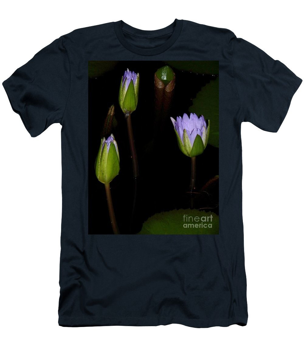 Purple Men's T-Shirt (Athletic Fit) featuring the painting Light Violet Lilies by Eric Schiabor