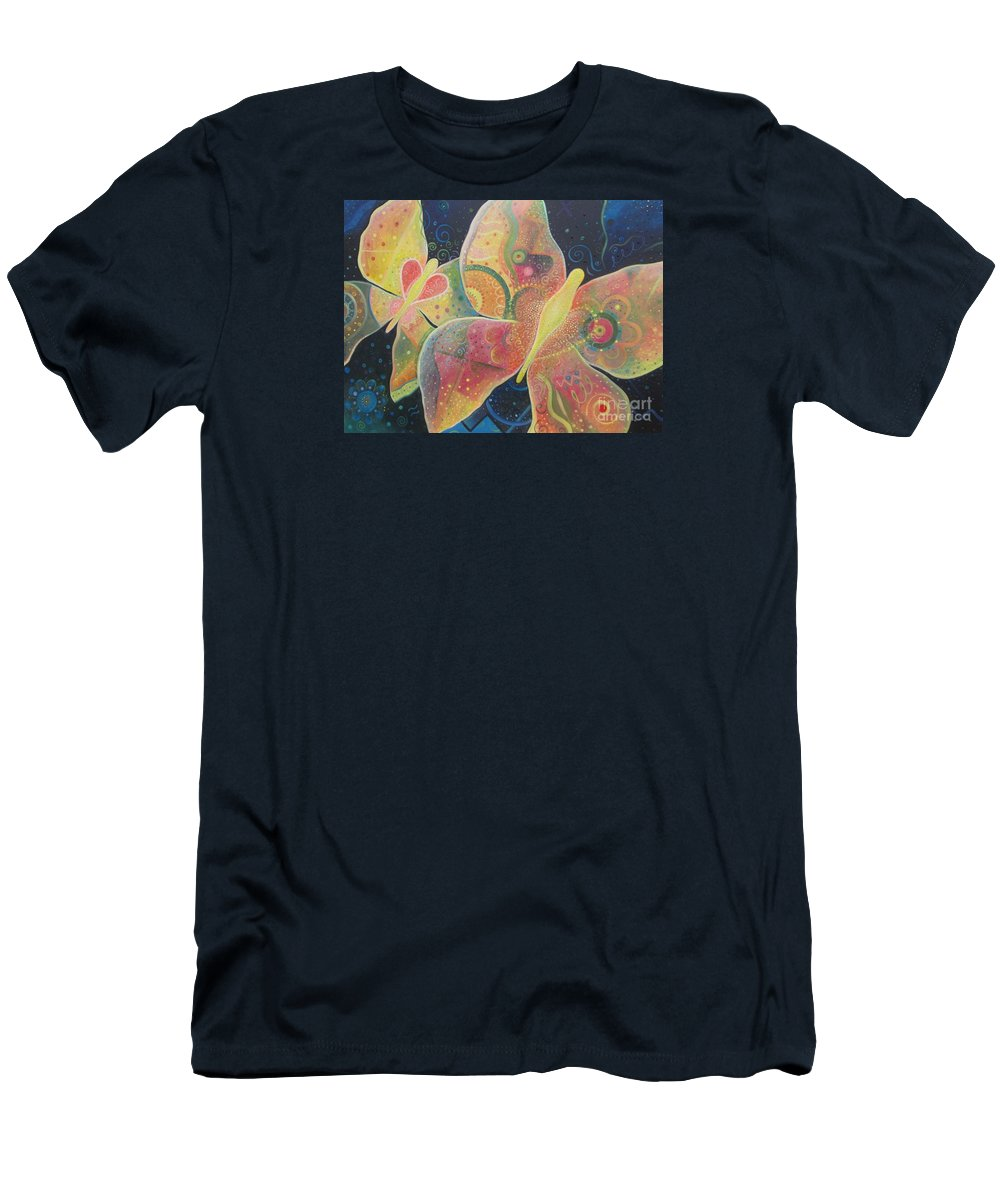 Butterfly Men's T-Shirt (Athletic Fit) featuring the painting Lighthearted by Helena Tiainen