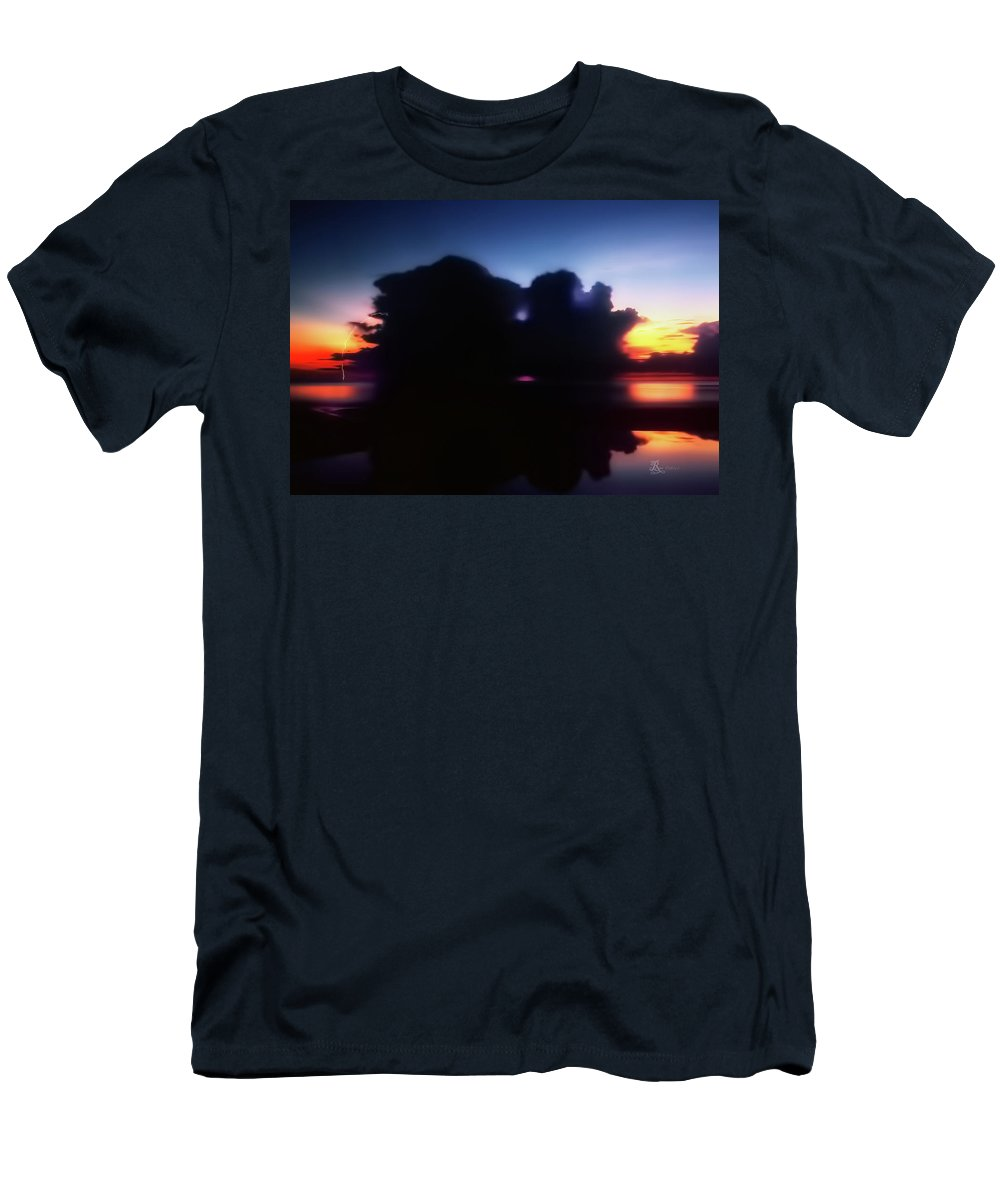 Sunset Men's T-Shirt (Athletic Fit) featuring the photograph Lightning Strike Sunset by La Rae Roberts