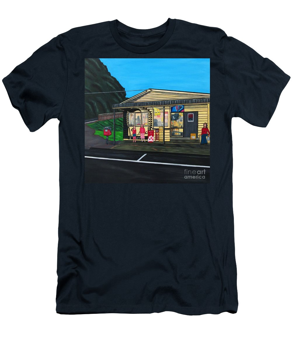 Buildings Men's T-Shirt (Athletic Fit) featuring the painting Little Oneroa Store by Sandra Marie Adams