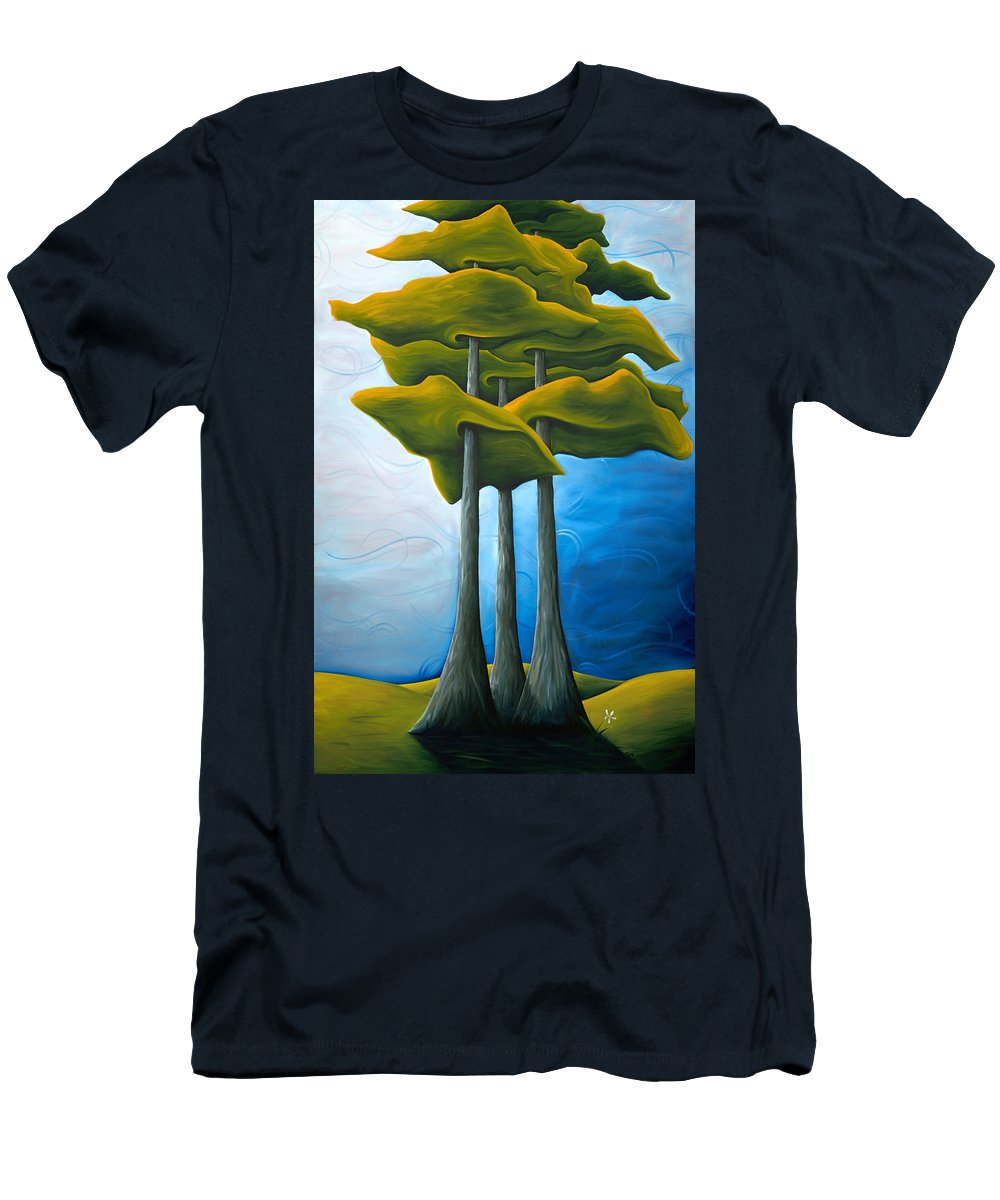 Landscape Men's T-Shirt (Athletic Fit) featuring the painting Living In The Shadow by Richard Hoedl