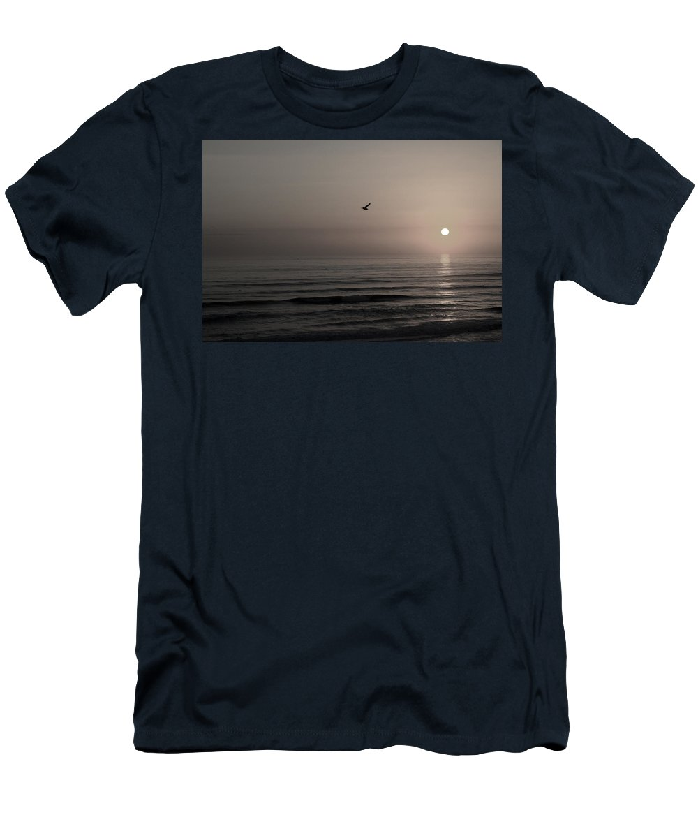 Beach Ocean Wave Sunrise Sunset Sun Bird Gull Fly Flight Water Vacation Peace Nature Relax Peace Men's T-Shirt (Athletic Fit) featuring the photograph Lonely Flight II by Andrei Shliakhau