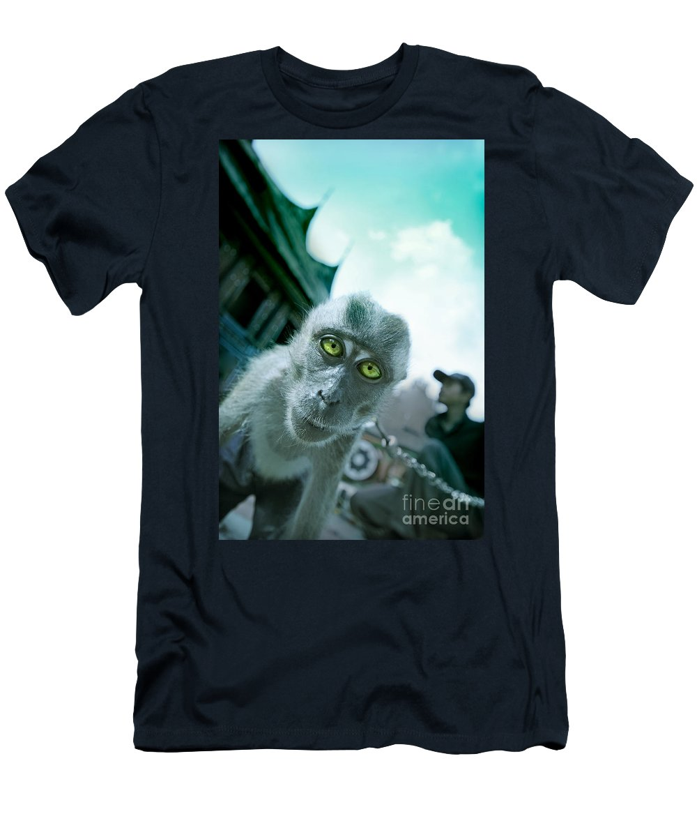Monkey Men's T-Shirt (Athletic Fit) featuring the photograph Look Into My Eyes by Charuhas Images