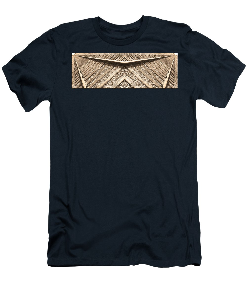 Traintracks Men's T-Shirt (Athletic Fit) featuring the photograph Looking Both Ways Down The Train Tracks by James BO Insogna