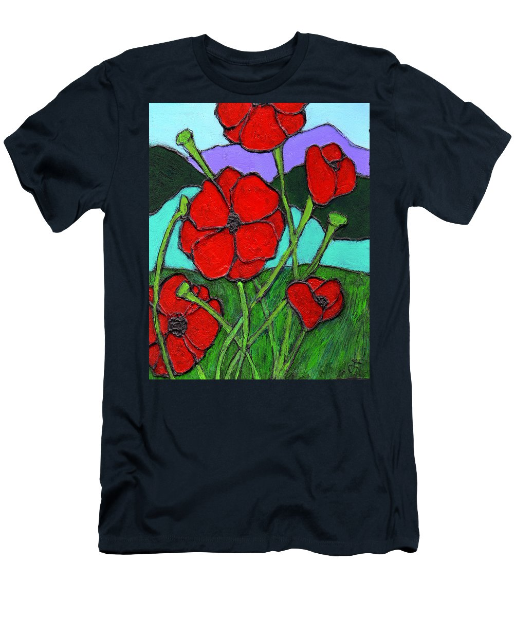Poppies Men's T-Shirt (Athletic Fit) featuring the painting Looking Up by Wayne Potrafka