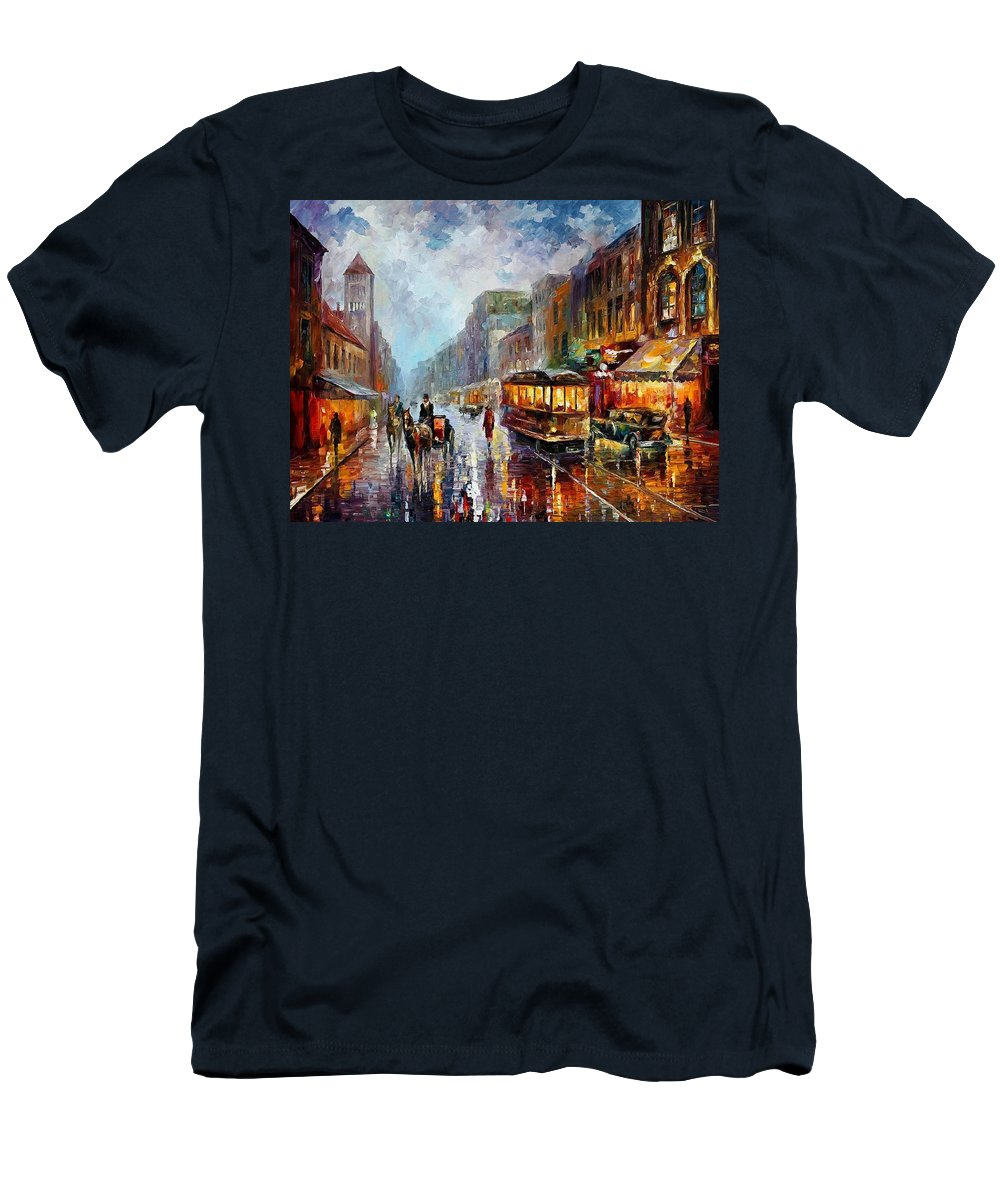 Afremov Men's T-Shirt (Athletic Fit) featuring the painting Los Angeles 1925 by Leonid Afremov