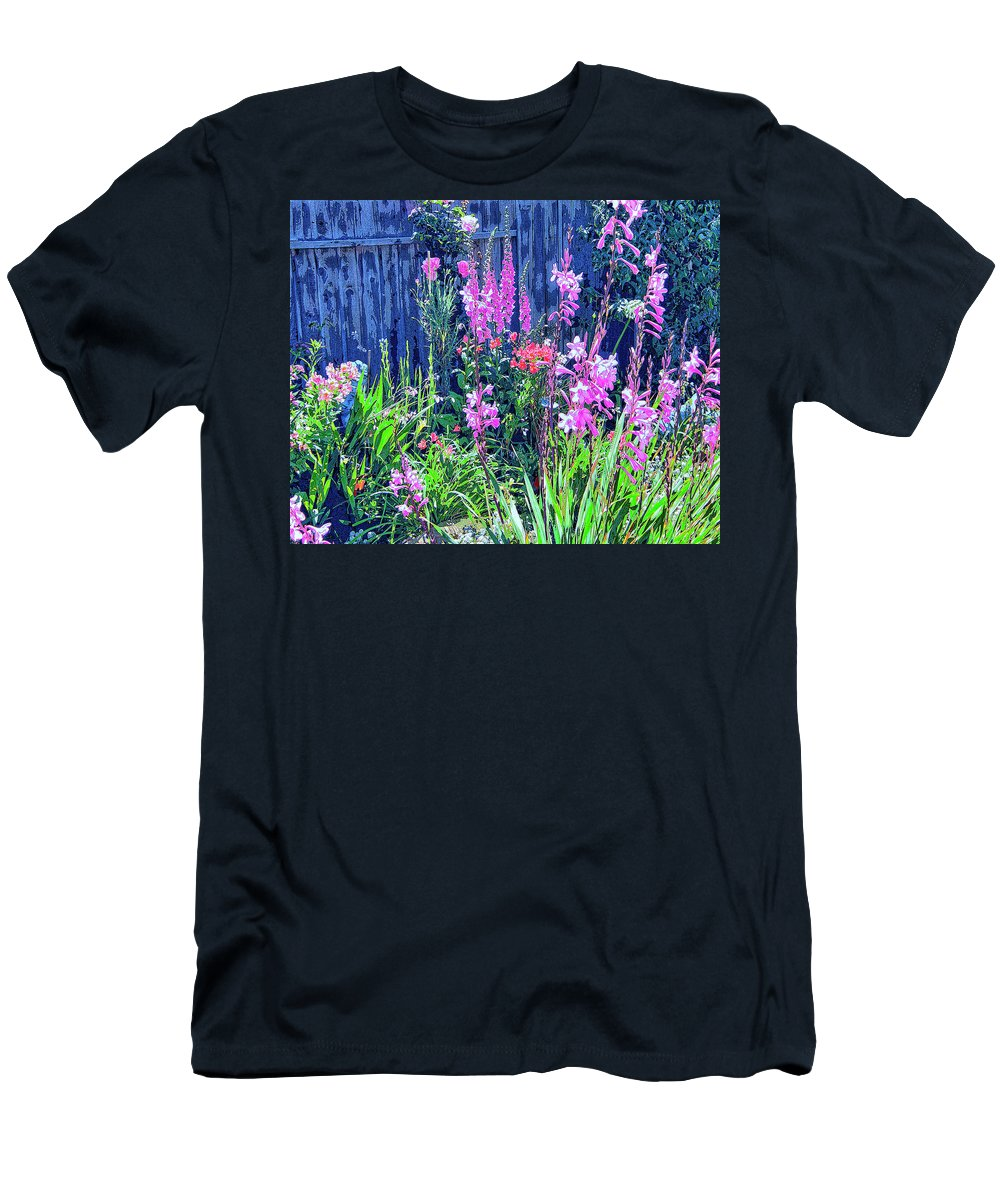Los Osos Flower Garden Men's T-Shirt (Athletic Fit) featuring the mixed media Los Osos Flower Garden by Dominic Piperata