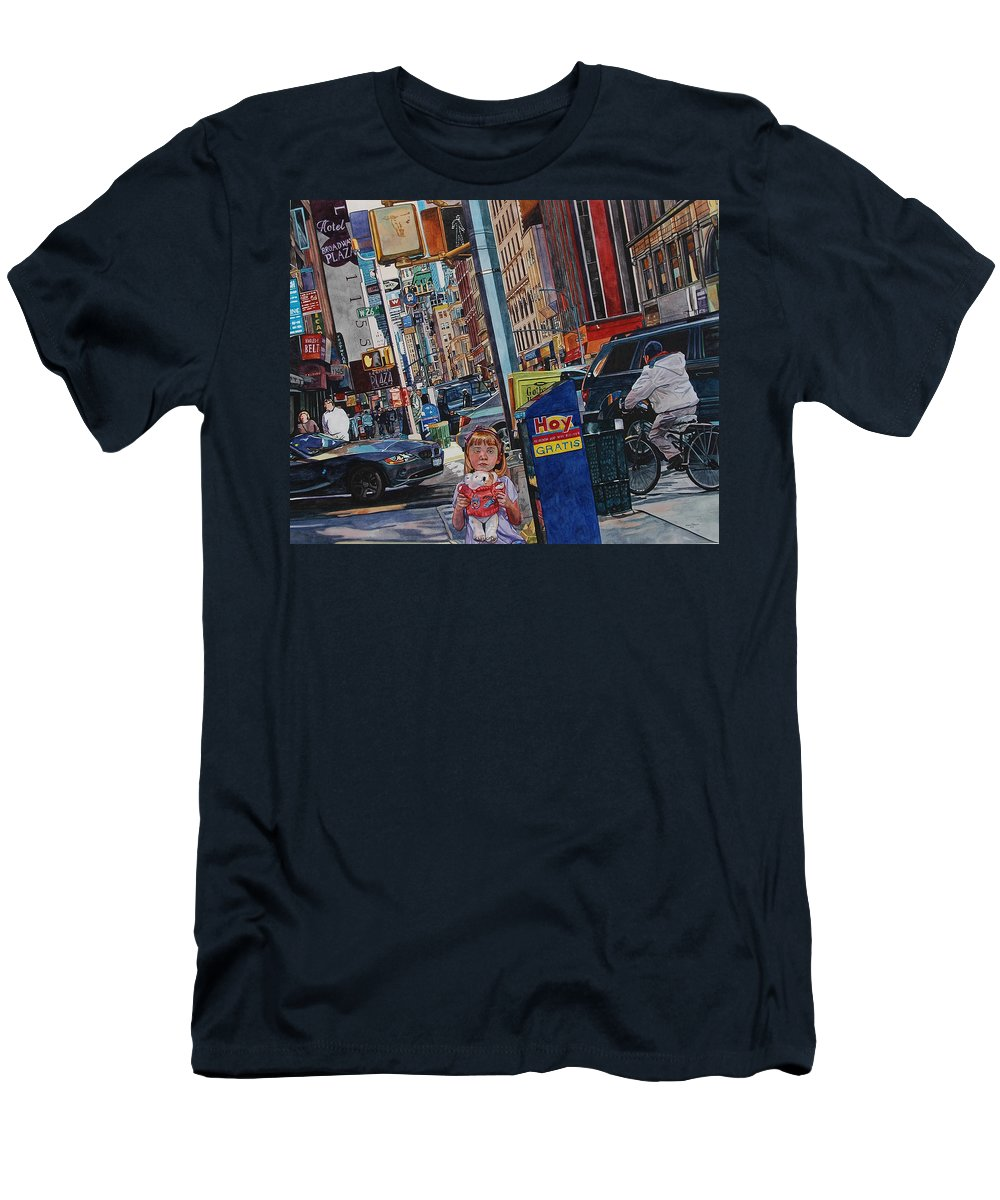 City Men's T-Shirt (Athletic Fit) featuring the painting Lost by Valerie Patterson
