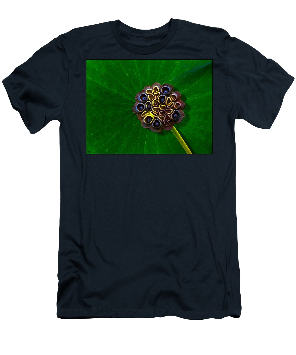 Leaf Men's T-Shirt (Athletic Fit) featuring the photograph Lotus Pod by Chris Lord