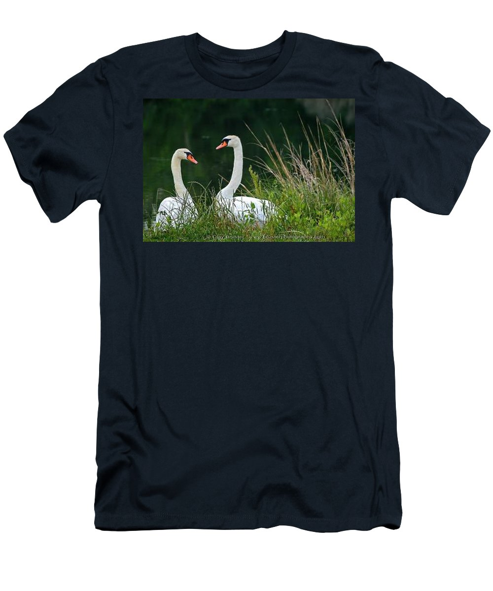Clay Men's T-Shirt (Athletic Fit) featuring the photograph Loving Swans by Clayton Bruster