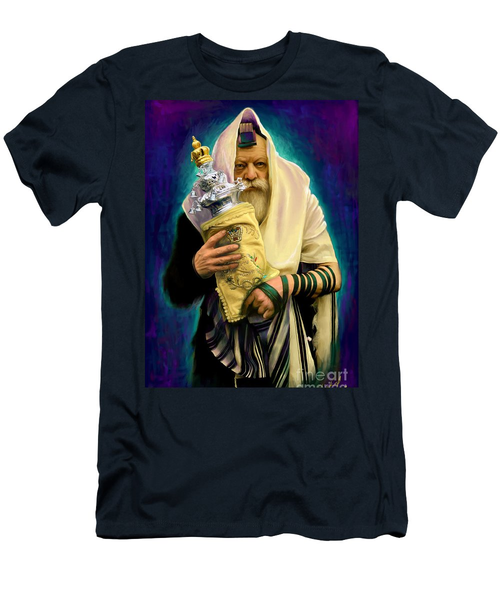 Lubavitcher Men's T-Shirt (Athletic Fit) featuring the painting Lubavitcher Rebbe With Torah by Sam Shacked