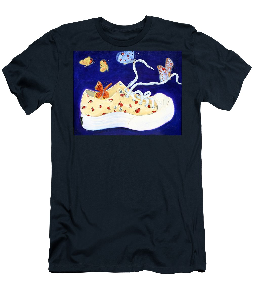Running Shoes Men's T-Shirt (Athletic Fit) featuring the painting Lucky Lady Bug Shoe by Minaz Jantz