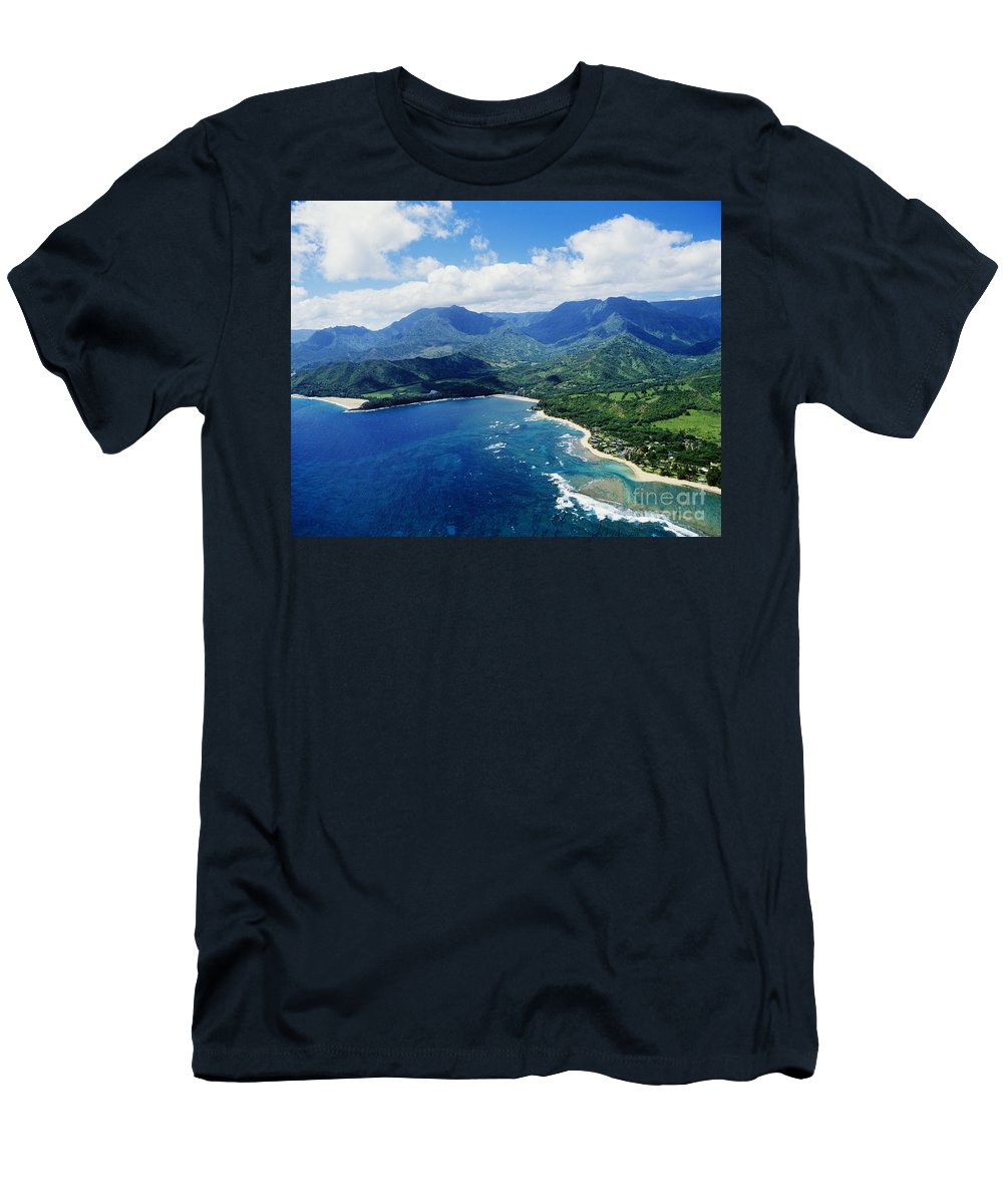 Above Men's T-Shirt (Athletic Fit) featuring the photograph Lumahai Beach To Haena by Greg Vaughn - Printscapes