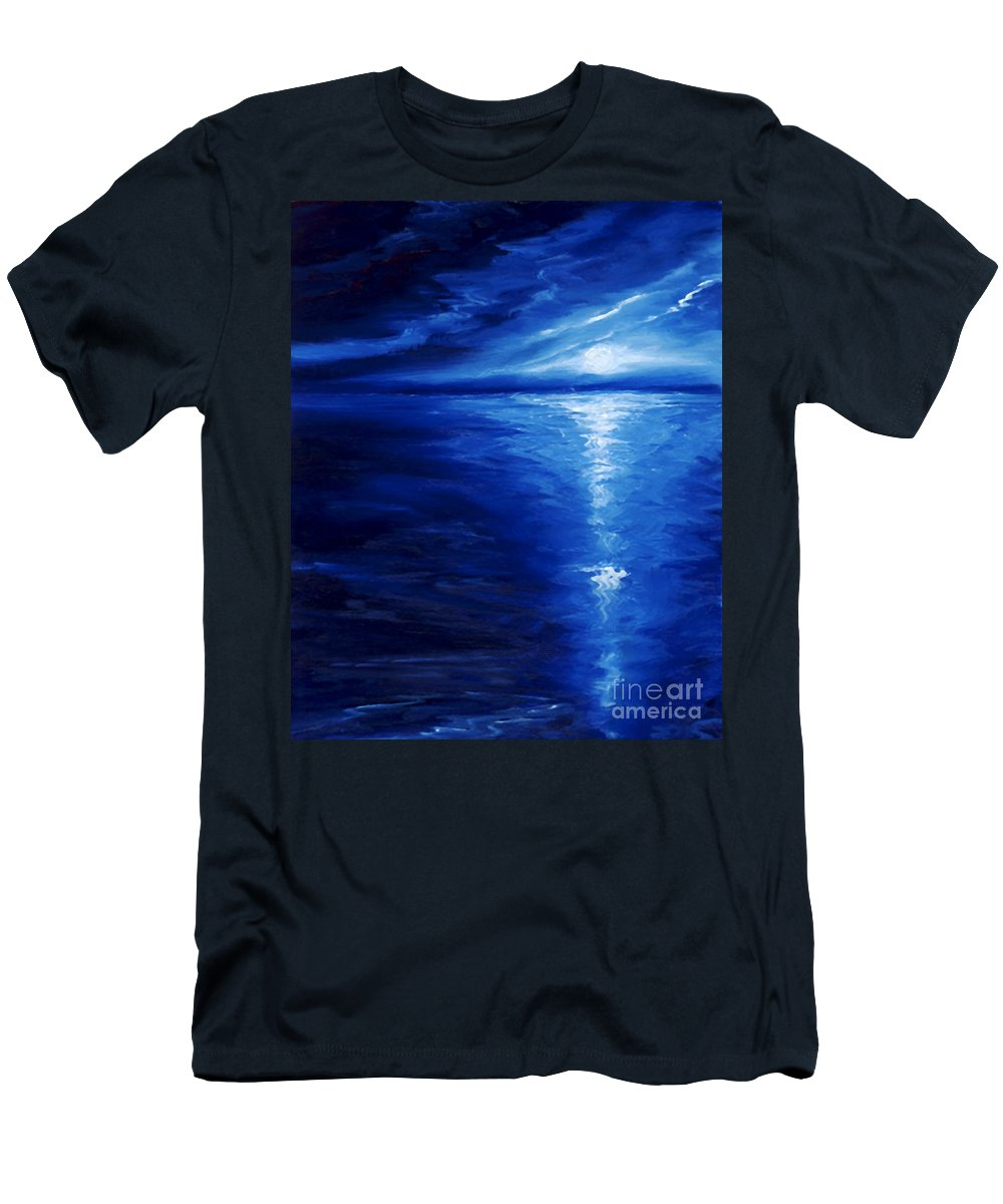 Blue Moon Men's T-Shirt (Athletic Fit) featuring the painting Magical Moonlight by James Christopher Hill