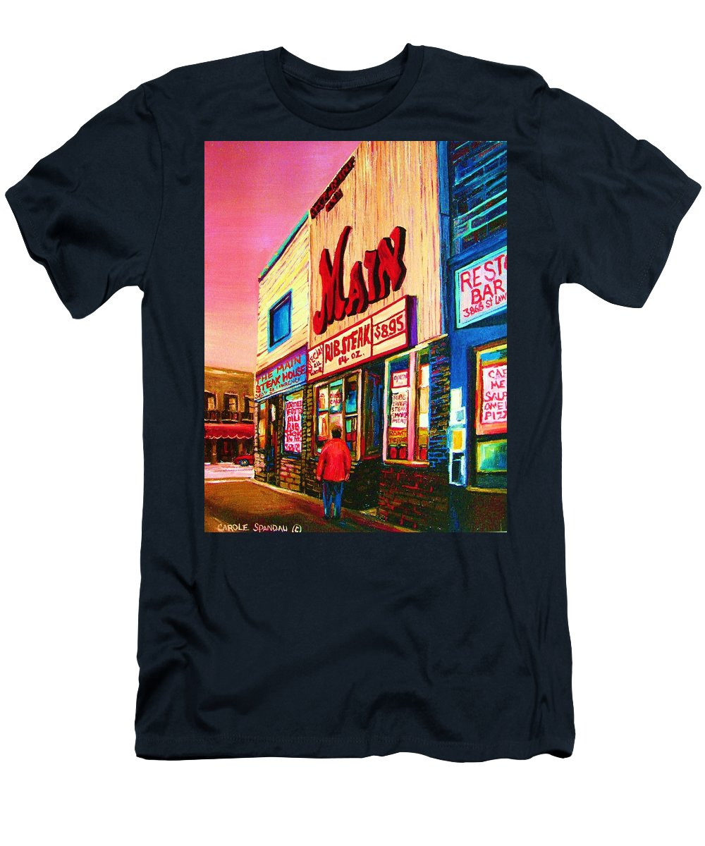 Montreal Men's T-Shirt (Athletic Fit) featuring the painting Main Steakhouse Blvd.st.laurent by Carole Spandau