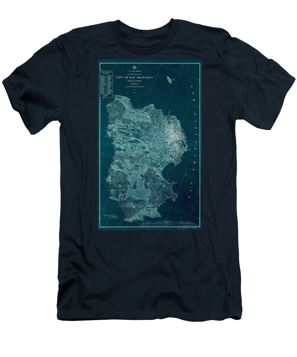 Map Of San Francisco Men's T-Shirt (Athletic Fit) featuring the photograph Map Of San Francisco 1857 by Andrew Fare