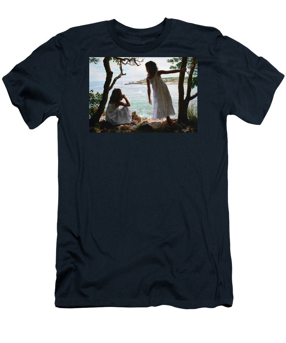 Figurative Men's T-Shirt (Athletic Fit) featuring the painting Marginal Way by Tom Sierak