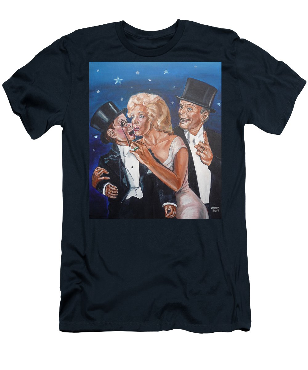 Old Time Radio Men's T-Shirt (Athletic Fit) featuring the painting Marilyn Monroe Marries Charlie Mccarthy by Bryan Bustard