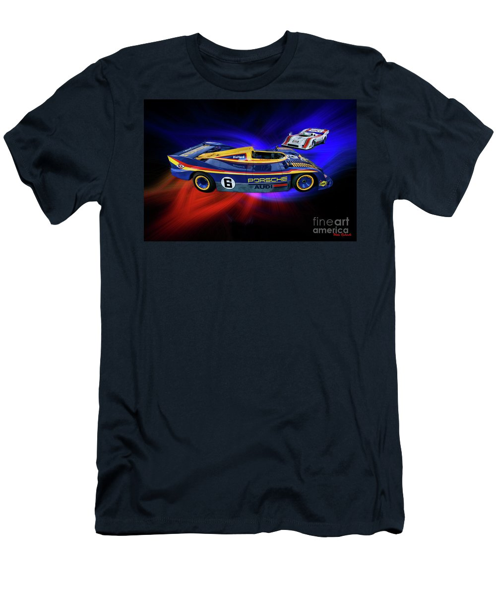 Mark Donohue Men's T-Shirt (Athletic Fit) featuring the photograph Mark Donohue And George Follmer Porsche by Blake Richards