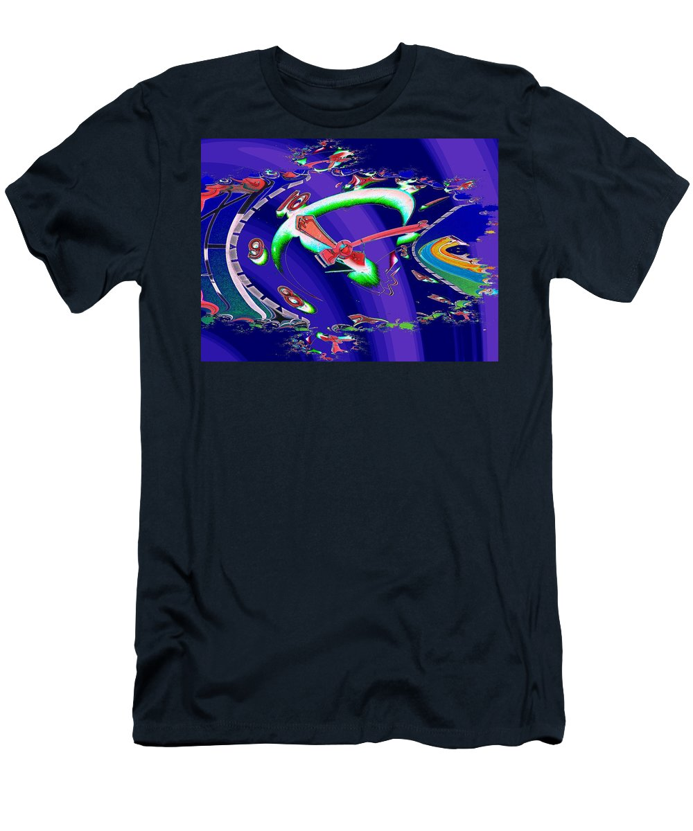 Seattle Men's T-Shirt (Athletic Fit) featuring the photograph Market Clock In Fractal by Tim Allen