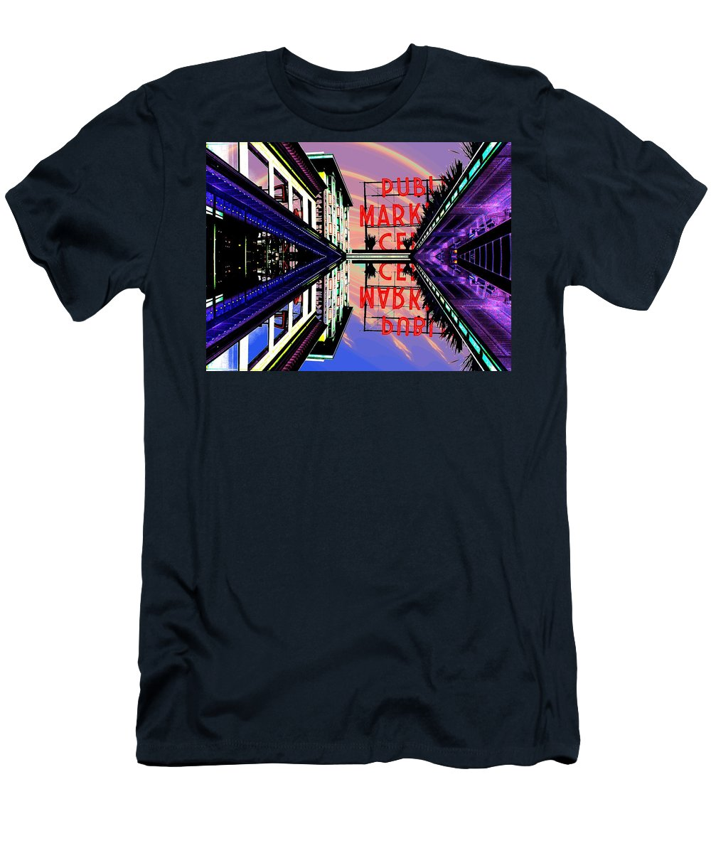 Seattle Men's T-Shirt (Athletic Fit) featuring the digital art Market Entrance by Tim Allen