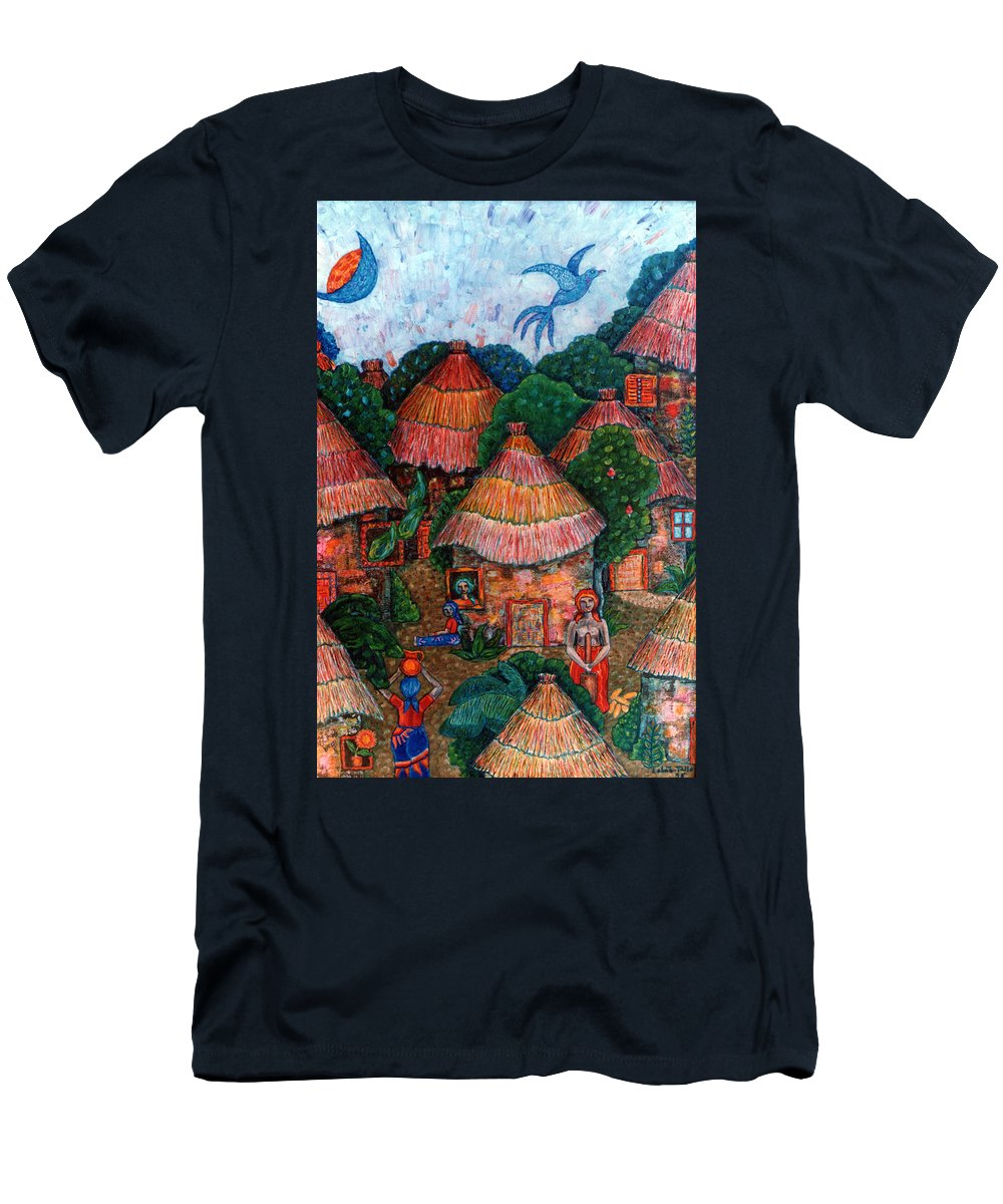 Africa Men's T-Shirt (Athletic Fit) featuring the painting Maybe That Was My Country by Madalena Lobao-Tello