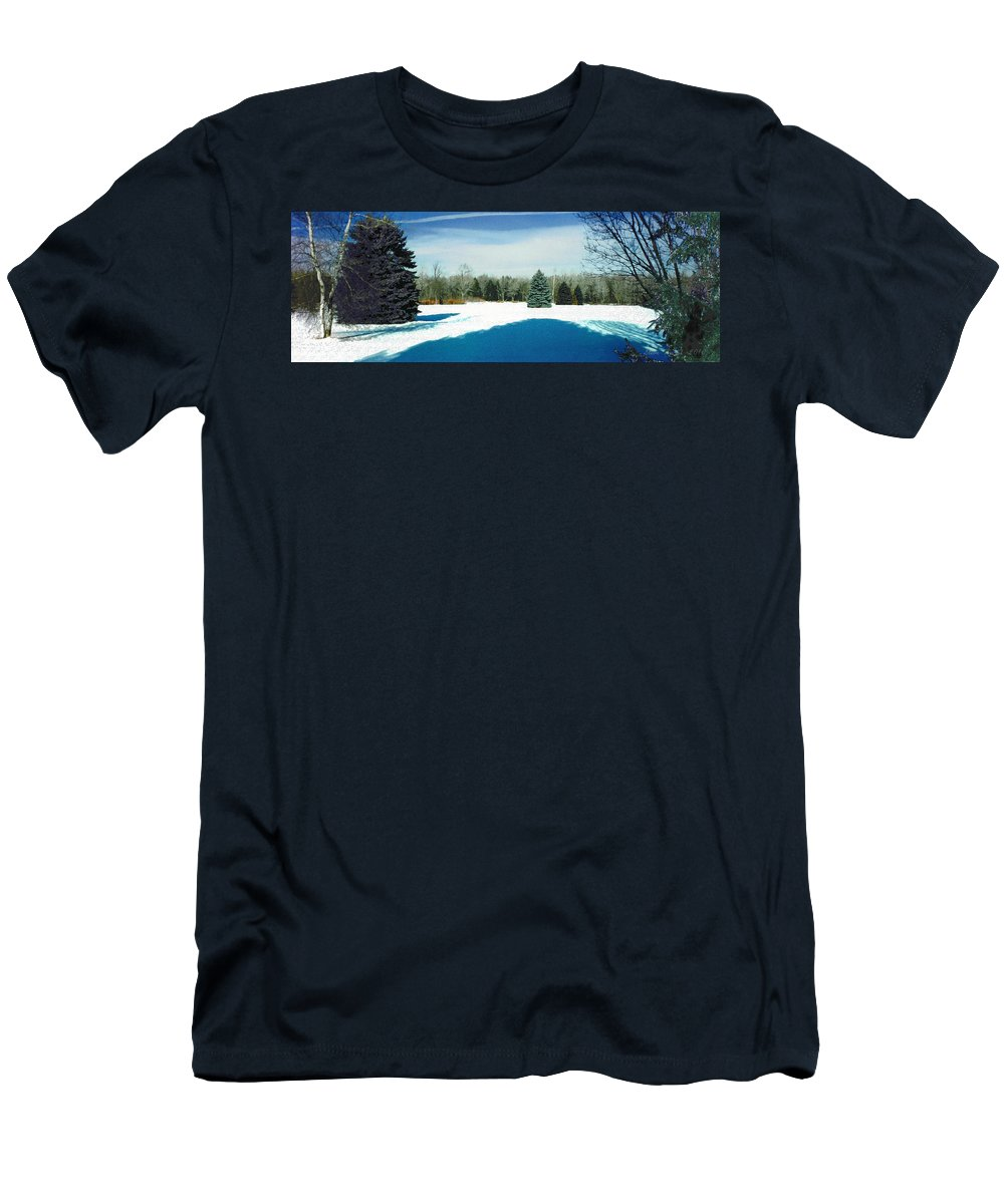 Landscape Men's T-Shirt (Athletic Fit) featuring the photograph Meadow Snow by Steve Karol
