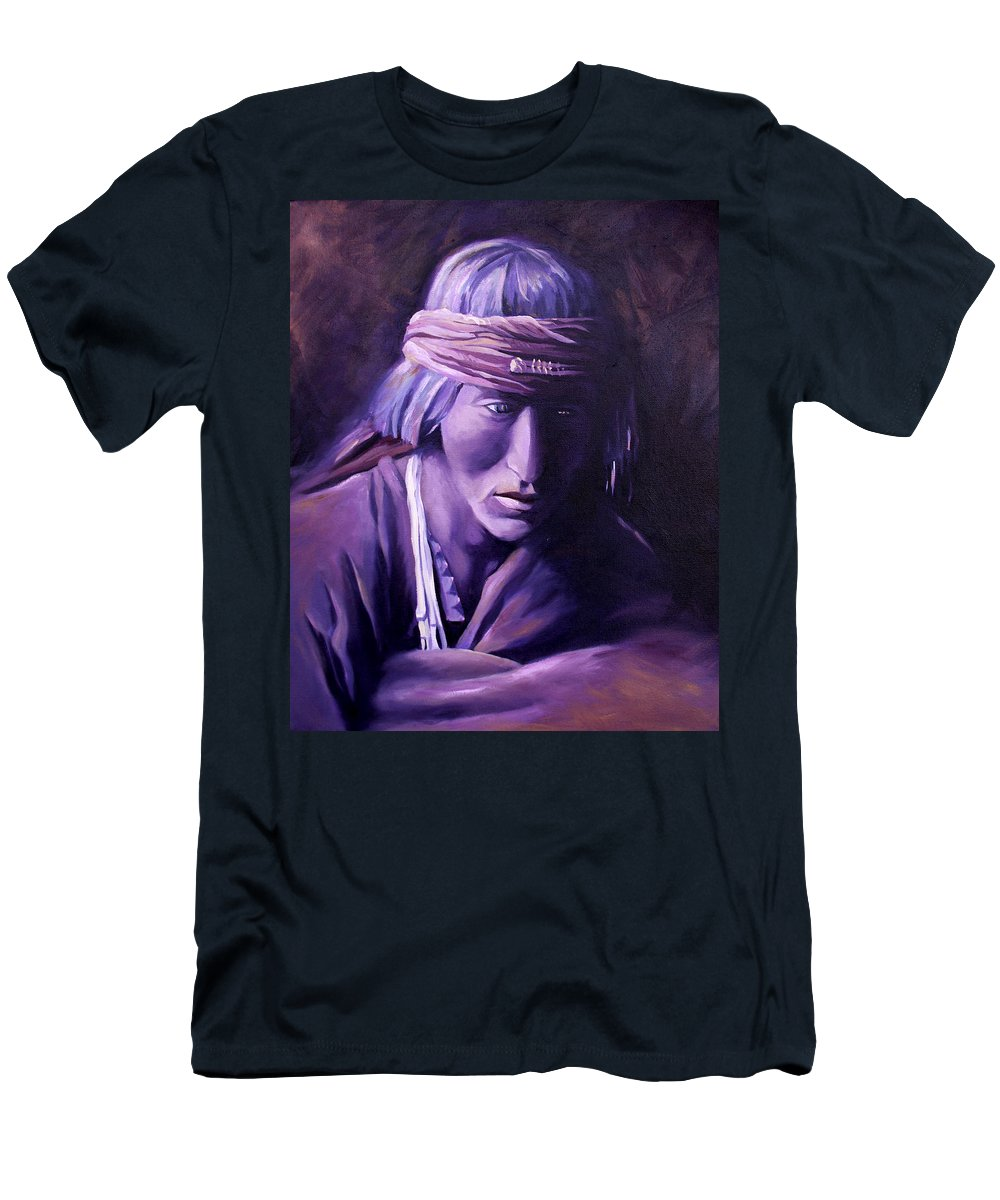 Native American Men's T-Shirt (Athletic Fit) featuring the painting Medicine Man by Nancy Griswold