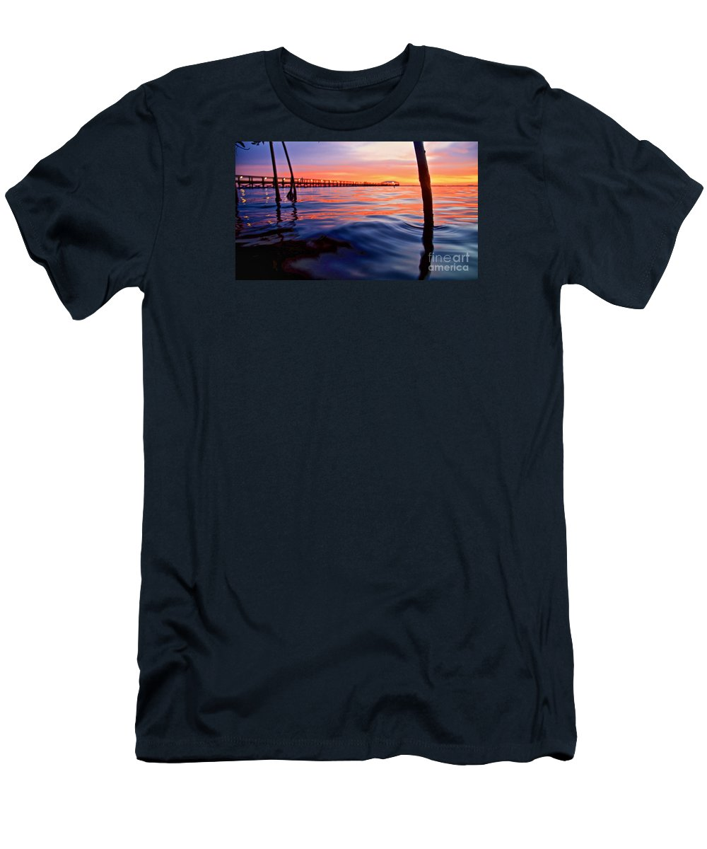 Melbourne Beach Men's T-Shirt (Athletic Fit) featuring the photograph Mel Beach Red by Chris Wilson