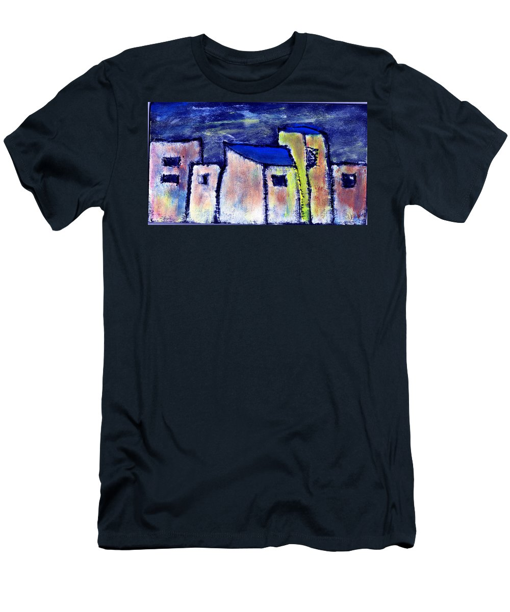Buidings Men's T-Shirt (Athletic Fit) featuring the painting Memories by Wayne Potrafka
