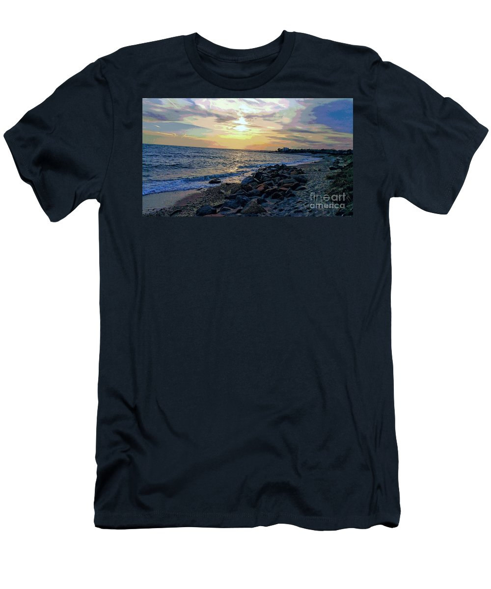 Beach Men's T-Shirt (Athletic Fit) featuring the photograph Menauhant Abstracted Sunset by Christine Chepeleff