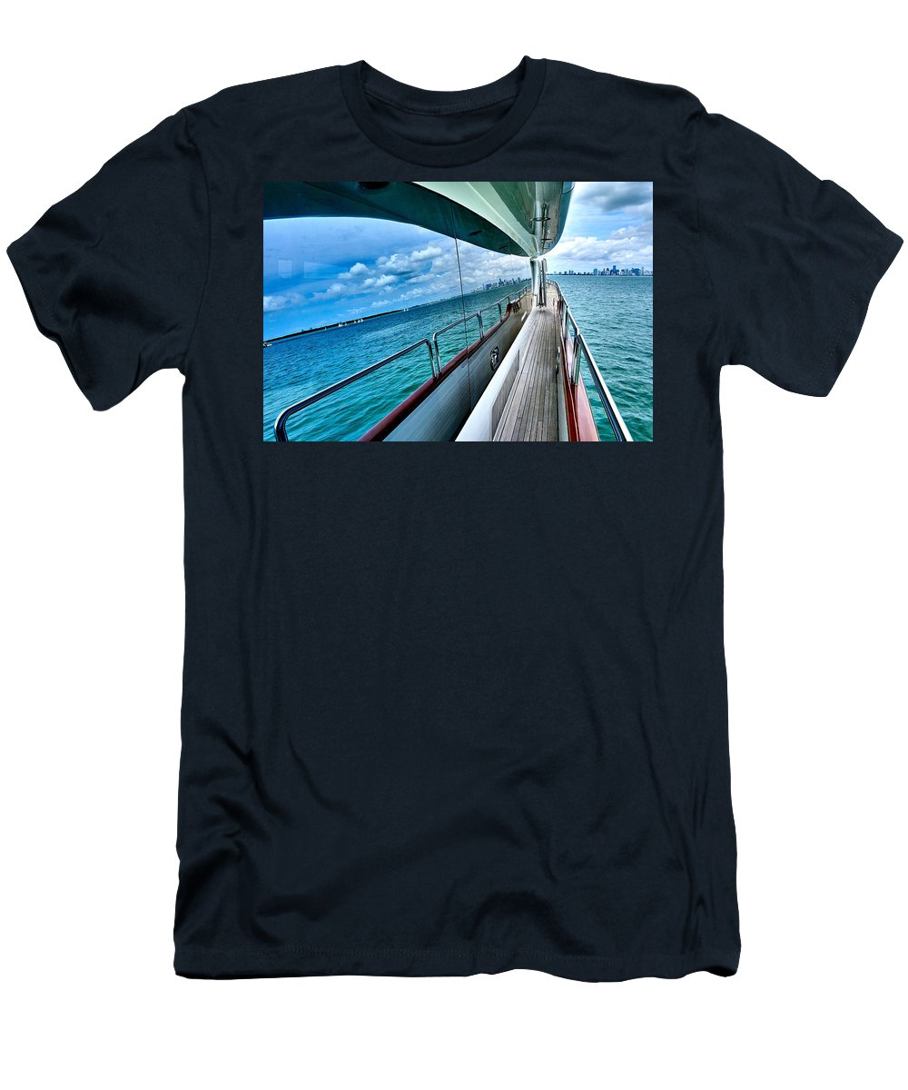 Miami Men's T-Shirt (Athletic Fit) featuring the photograph Miami Reflection by Minn Saing