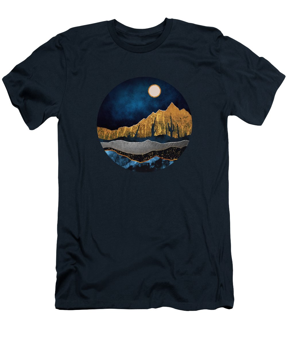 Midnight Men's T-Shirt (Athletic Fit) featuring the digital art Midnight Desert Moon by Spacefrog Designs