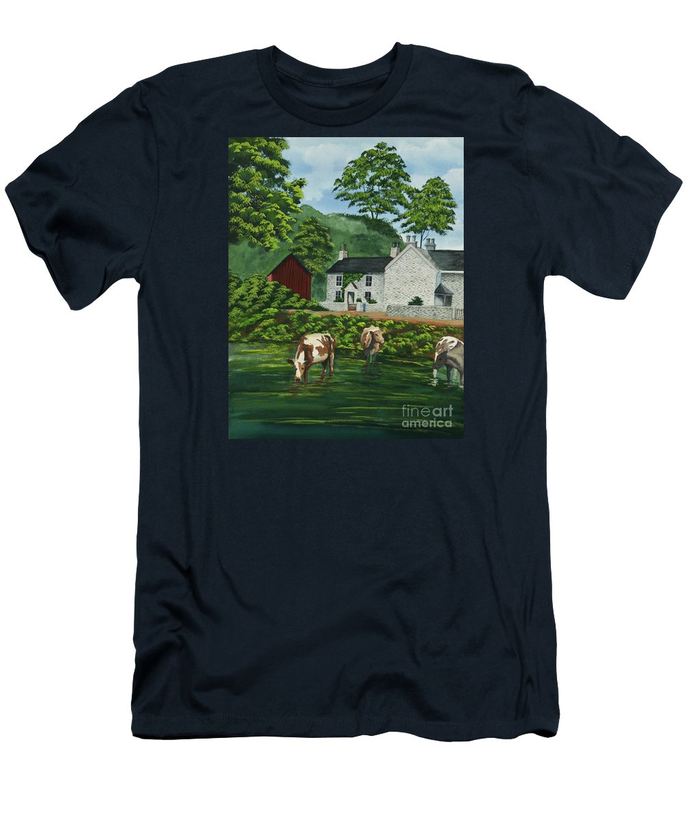 Cows Men's T-Shirt (Athletic Fit) featuring the painting Milldale In Staffordshire by Charlotte Blanchard