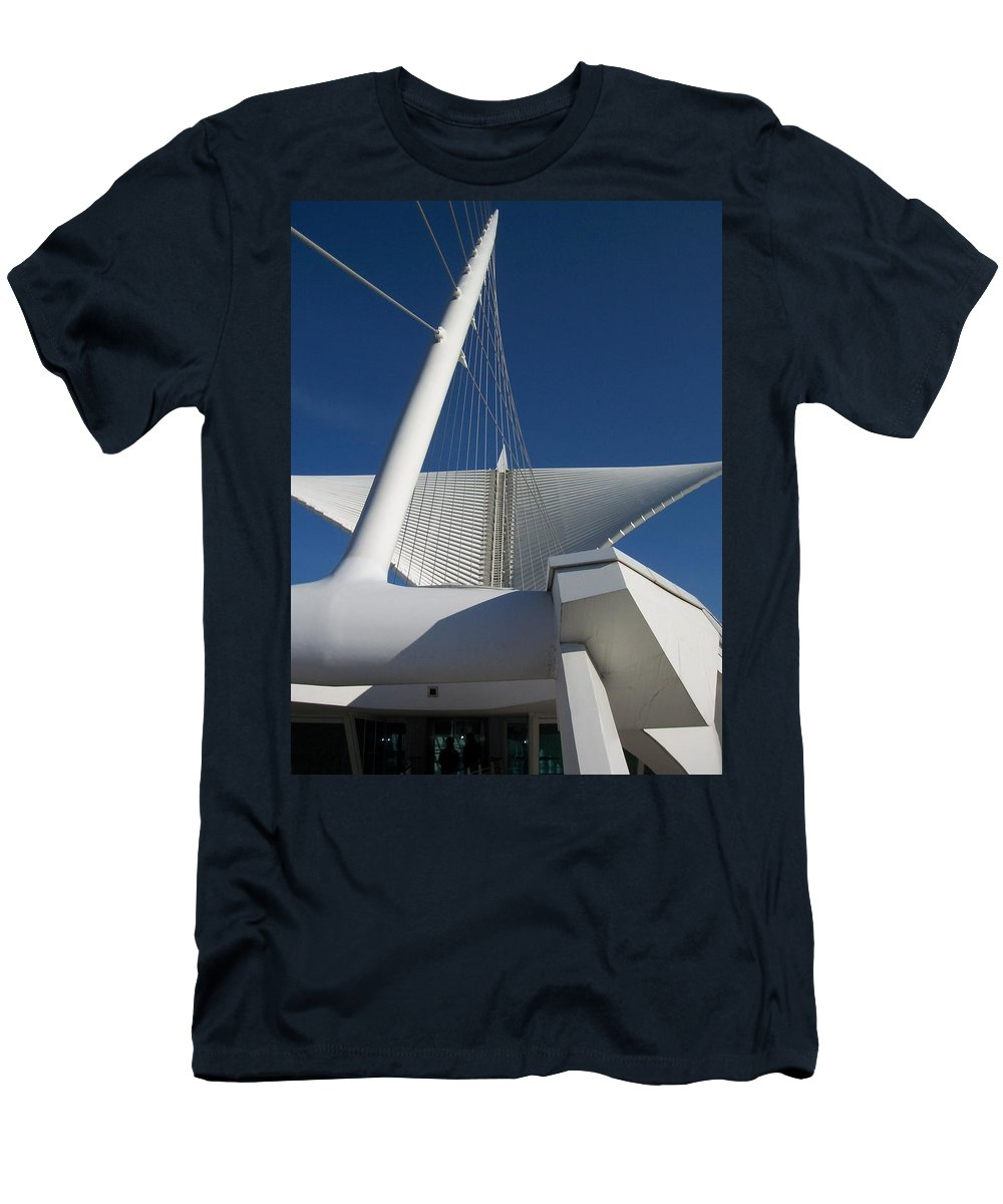 Mam Men's T-Shirt (Athletic Fit) featuring the photograph Milwaukee Art Museum Cropped by Anita Burgermeister