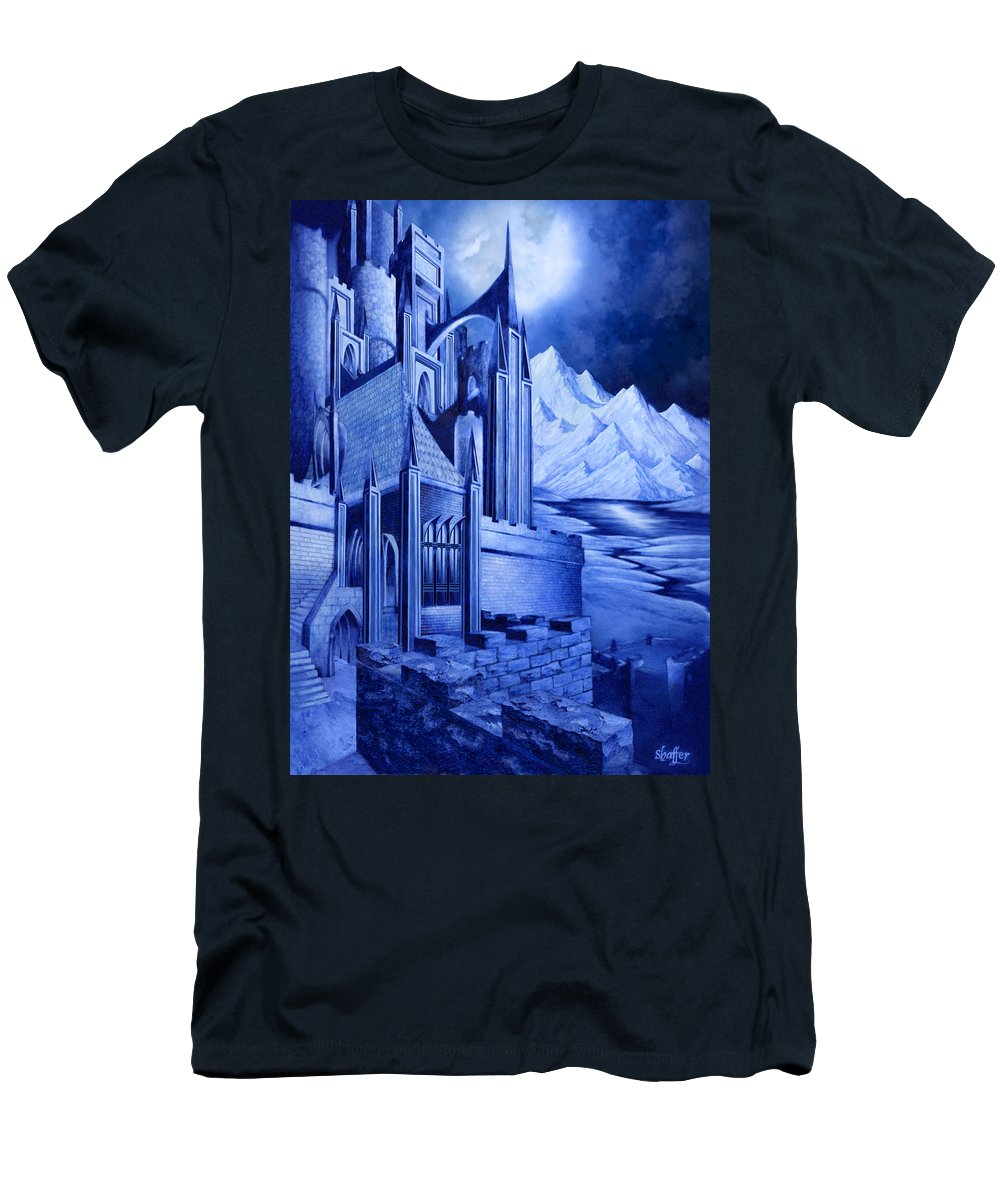 Lord Of The Rings Men's T-Shirt (Athletic Fit) featuring the mixed media Minas Tirith by Curtiss Shaffer