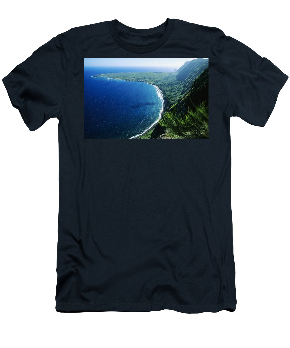 Above Men's T-Shirt (Athletic Fit) featuring the photograph Molokai, View by Ali ONeal - Printscapes
