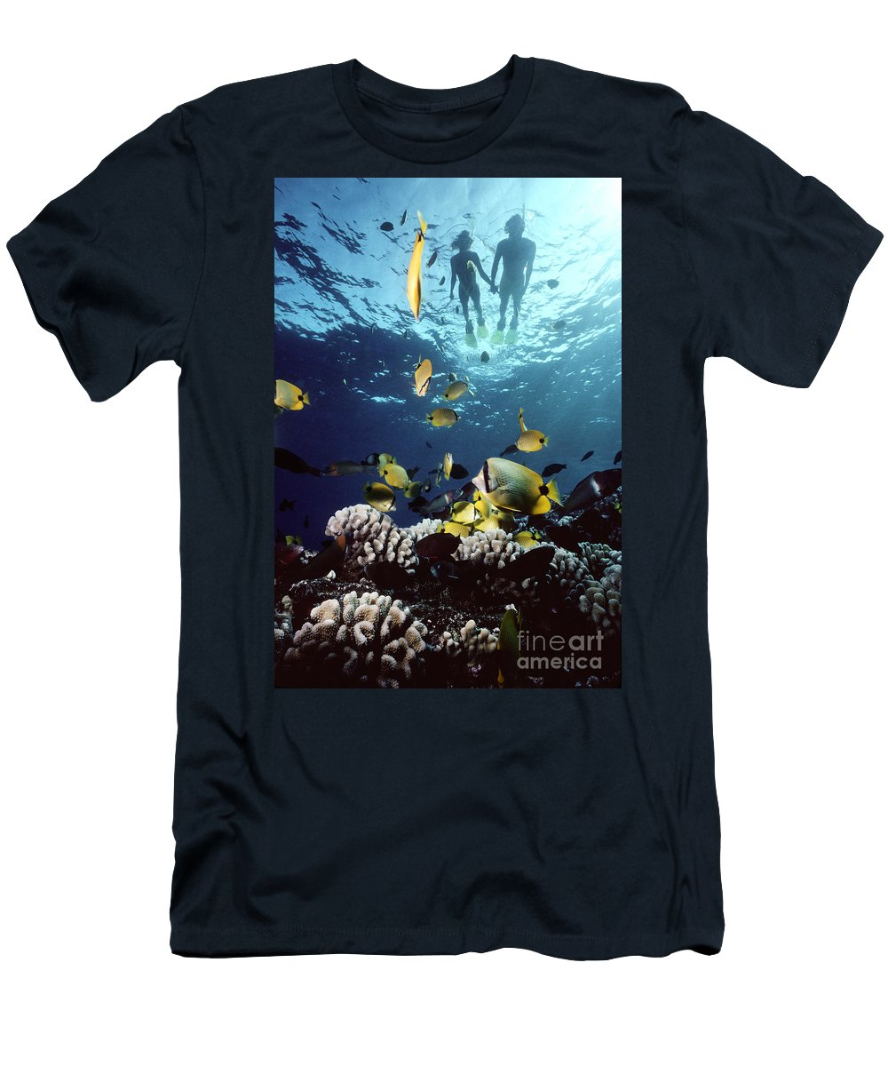 Blue Men's T-Shirt (Athletic Fit) featuring the photograph Molokini Snorkeling Couple by Ed Robinson - Printscapes