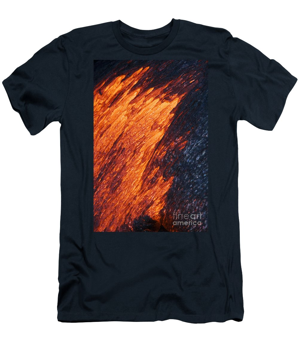 Active Men's T-Shirt (Athletic Fit) featuring the photograph Molten Pahoehoe Lava by Ron Dahlquist - Printscapes