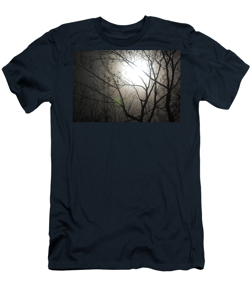 Moon Men's T-Shirt (Athletic Fit) featuring the photograph Moon Halo In Winter by Trish Hale