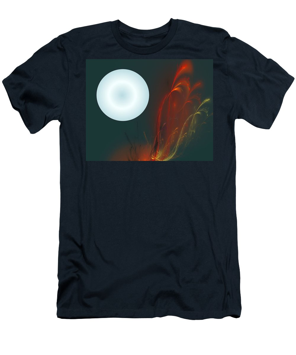 Digital Painting Men's T-Shirt (Athletic Fit) featuring the digital art Moon Over Fire Weed by David Lane