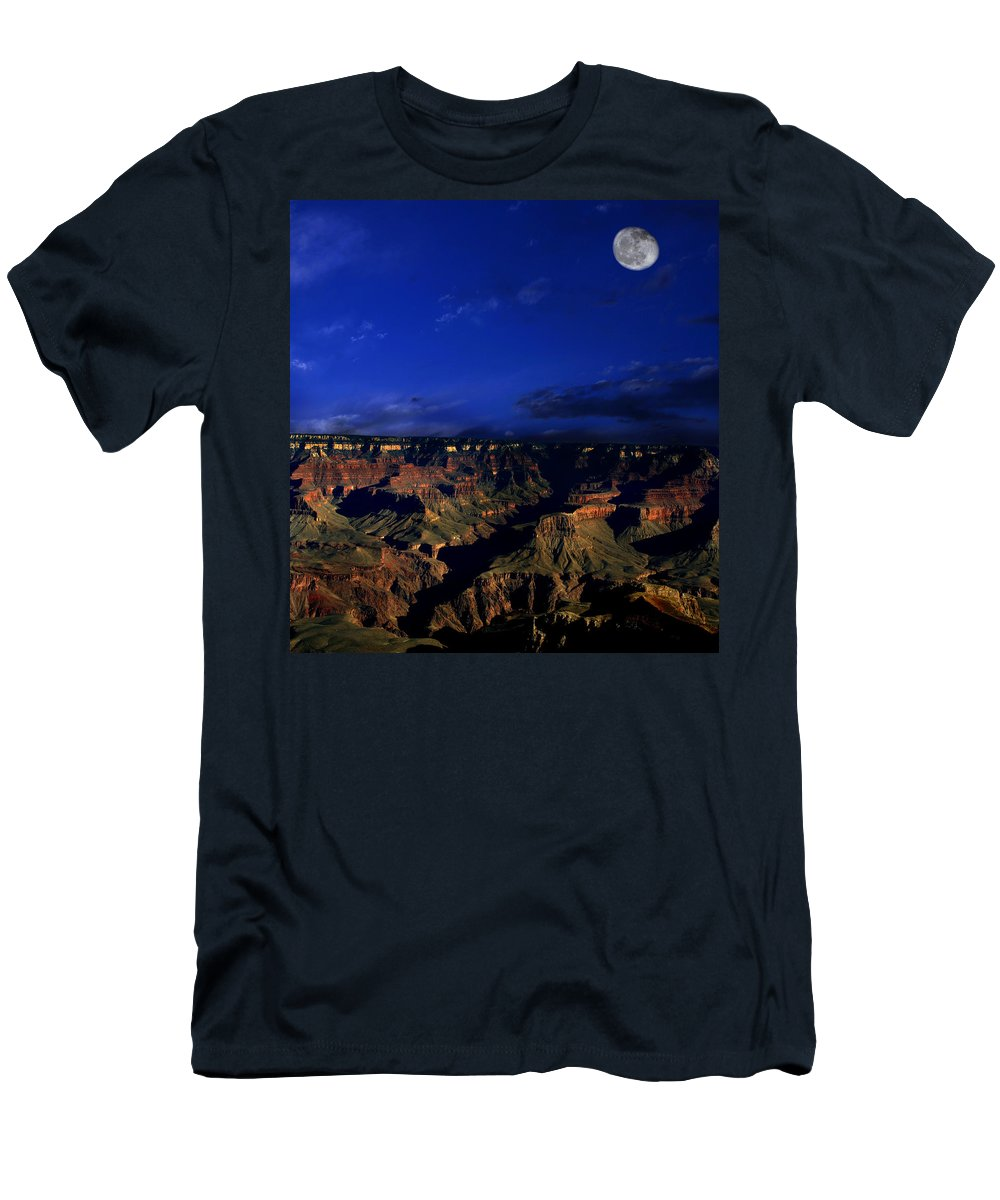 Grand Canyon Men's T-Shirt (Athletic Fit) featuring the photograph Moon Over The Canyon by Anthony Jones