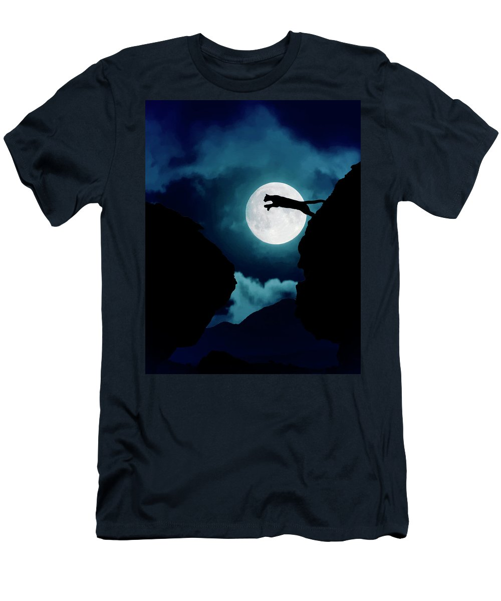 Mountain Lion T-Shirt featuring the photograph Moonlight Leap by Roy Nierdieck