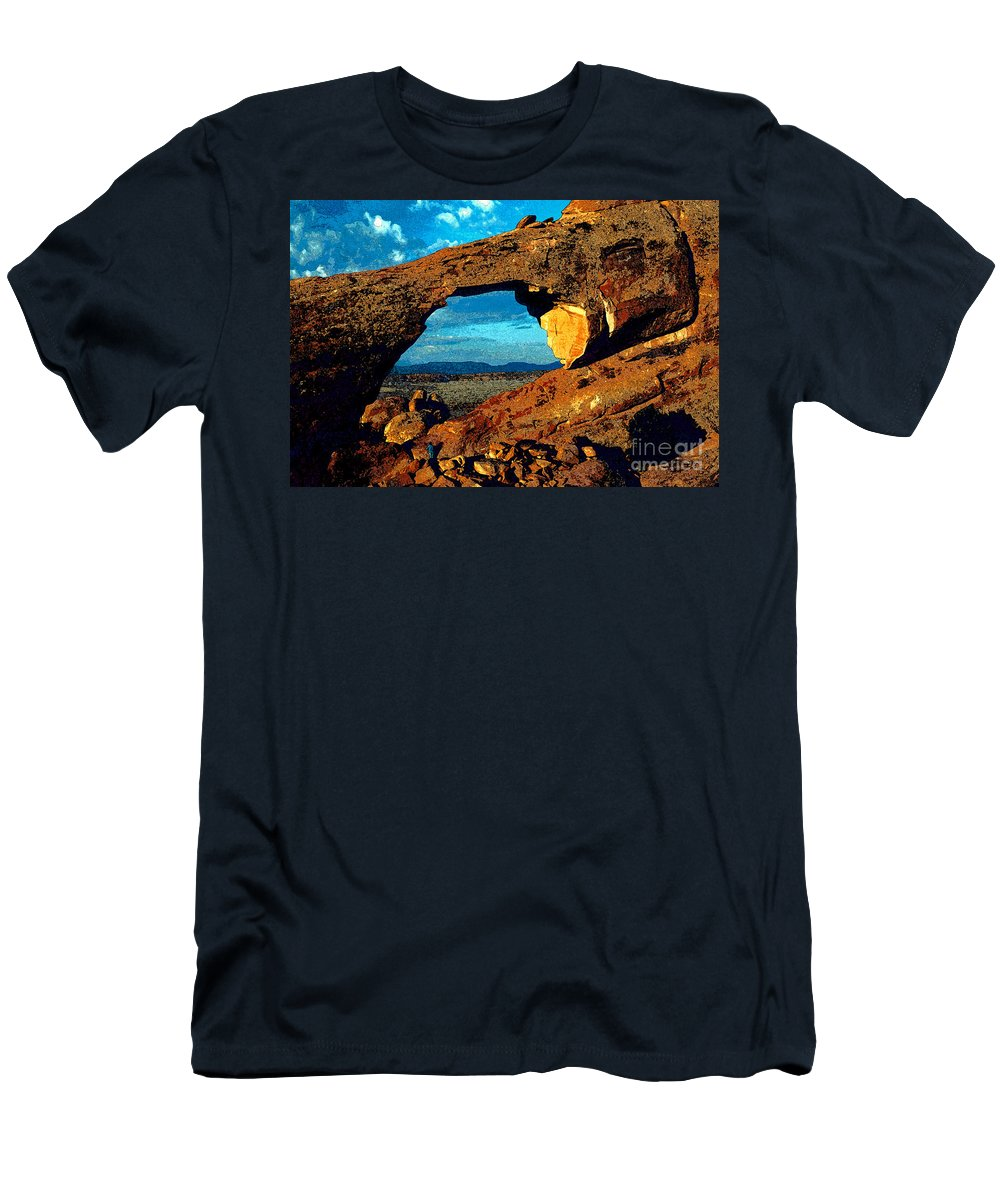 Landscape Arch Men's T-Shirt (Athletic Fit) featuring the painting Morning At Landscape Arch by David Lee Thompson