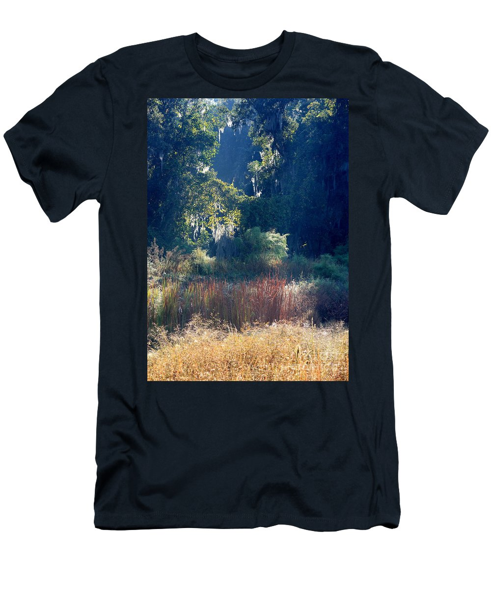 Sunshine Men's T-Shirt (Athletic Fit) featuring the photograph Morning Marsh Sunshine by Carol Groenen