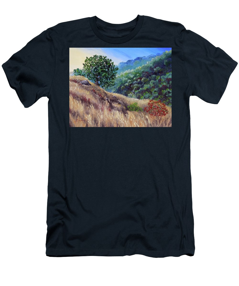 California Men's T-Shirt (Athletic Fit) featuring the painting Morning On A Hilltop by Laura Iverson