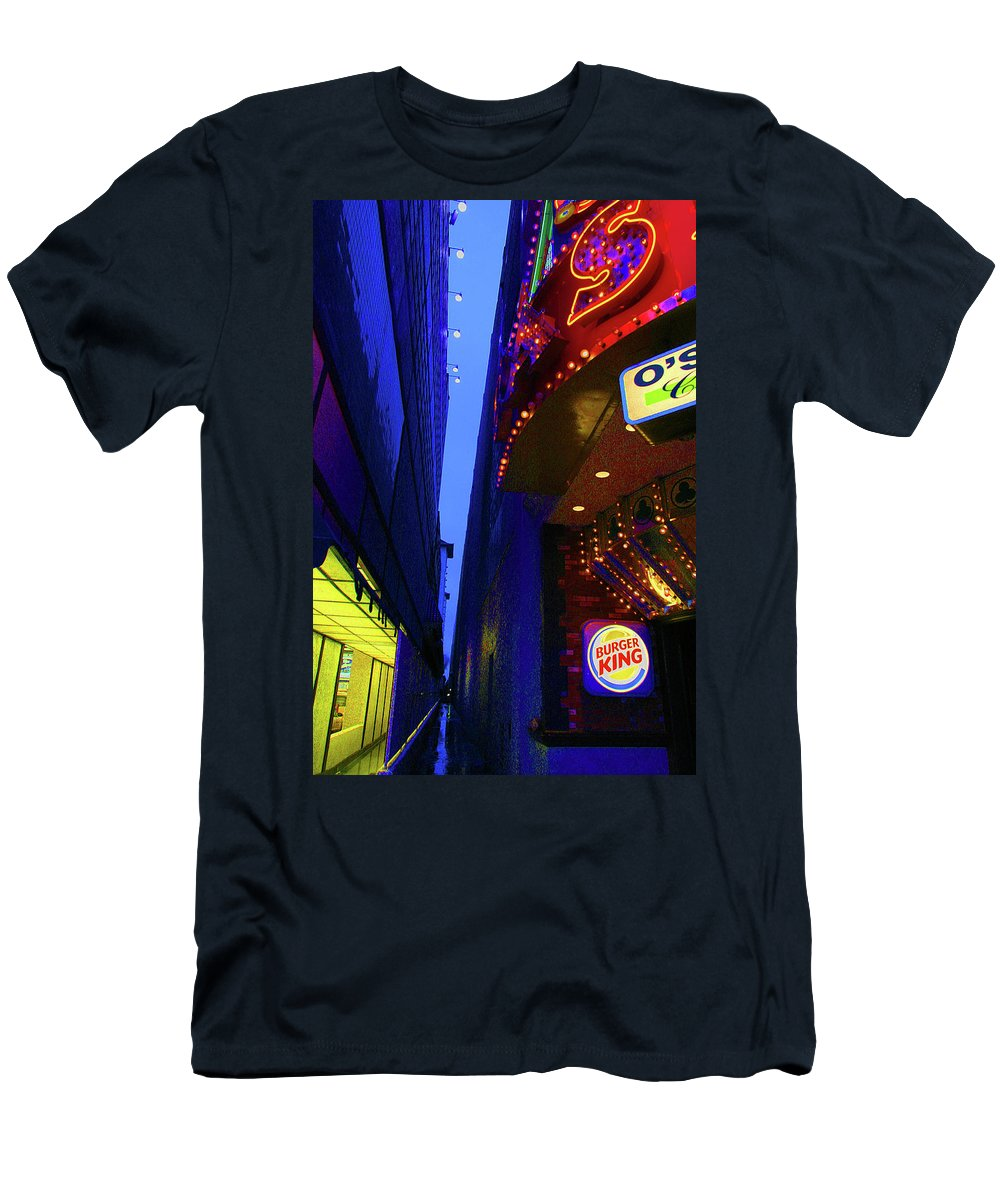 Morning Lights Men's T-Shirt (Athletic Fit) featuring the photograph Morning Stroll In Vegas by Artie Rawls