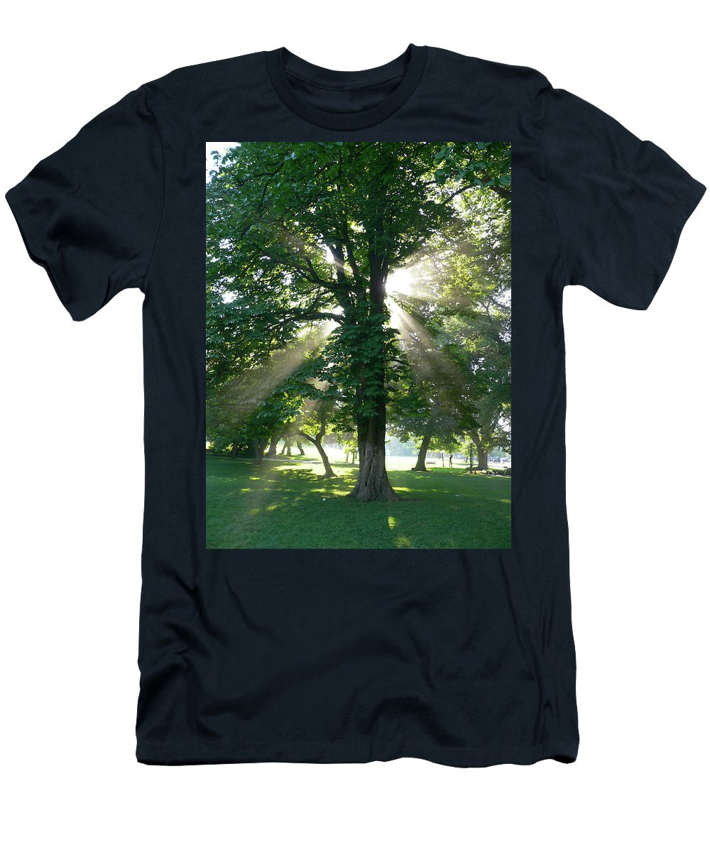 Tree Men's T-Shirt (Athletic Fit) featuring the photograph Morning Tree by Angela Wright